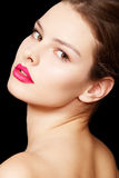Fashion woman model with bright matte lips make-up Royalty Free Stock Image
