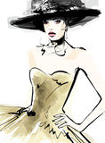 Fashion woman model with a hat. Vector illustration Stock Image
