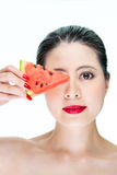 Fashion woman model holding watermelon with red lips, Nail Polis Stock Photos
