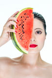 Fashion woman model holding watermelon red lips, Nail Polish, be Royalty Free Stock Images
