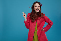 Fashion Woman Model Looking Surprised And Shocked Holding Card Royalty Free Stock Image