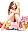 Fashion woman model with presents Royalty Free Stock Photography