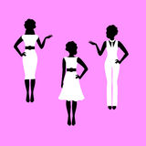 Fashion woman model silhouettes set Royalty Free Stock Images
