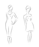 Fashion woman models, sketch. Royalty Free Stock Image