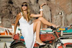 Fashion woman with motorcycle Stock Photo