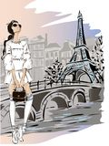 Fashion woman near Eiffel tower in Paris, fashion banner with text template, online shopping social media ads with beautiful girl. Vector illustration art Royalty Free Stock Photos