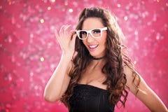 Fashion woman  in nightclub Royalty Free Stock Image