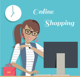 Fashion Woman Online Shopping with Computer Royalty Free Stock Photo