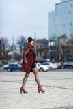Fashion woman outdoor portrait. Beautiful girl posing on the str. Young beautiful woman posing outdoors. stylish fashion portrait Royalty Free Stock Photos