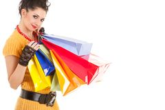 Fashion woman with packages Stock Photos