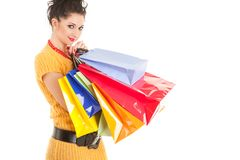 Fashion woman with packages Royalty Free Stock Images