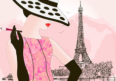 Fashion woman in Paris Stock Photo