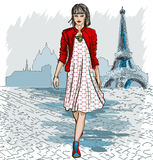 Fashion woman and Paris skyline Stock Photography