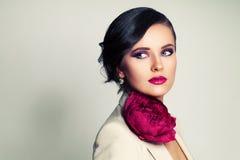 Fashion Woman with Peony Flower Stock Photo