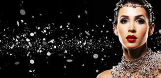 Fashion woman with perfect skin wearing dramatic makeup Royalty Free Stock Photo