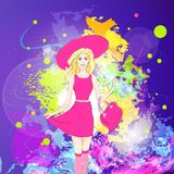 Fashion woman in pink dress, hat and stocking over Royalty Free Stock Photos