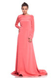 Fashion woman in a pink gown posing Stock Image