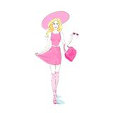 Fashion woman pink dress, hat stocking Royalty Free Stock Photo