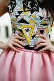 Fashion woman with pink skirt royalty free stock photography