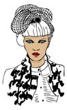 Fashion woman portrait. With trendy hair style and fake chanel jacket royalty free illustration