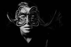 Fashion woman portrait. Beautiful woman portrait with Carnival mask Stock Photography