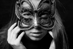 Fashion woman portrait. Beautiful woman portrait with Carnival mask Royalty Free Stock Images
