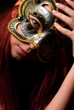 Fashion woman portrait. Beautiful woman portrait with Carnival mask Stock Photos