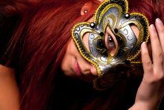 Fashion woman portrait. Beautiful woman portrait with Carnival mask Royalty Free Stock Photo