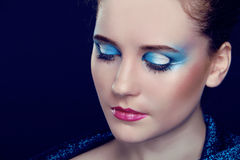 Fashion woman Portrait. Eyeshadow Stock Photo