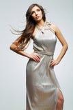 Fashion woman portrait. Hair motion. Female young model. Studio Royalty Free Stock Photos