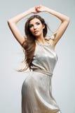 Fashion woman portrait. Hair motion. Female young model. Studio Stock Photo