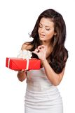 Fashion  woman portrait hold christmas gift. Royalty Free Stock Photo