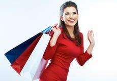 Fashion woman portrait isolated. White background. Royalty Free Stock Photos