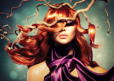 Fashion Woman Portrait. Fashion Model Woman Portrait with Long Curly Red Hair Stock Photography