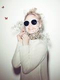 Fashion woman portrait. Sunglasses Hippi hair Royalty Free Stock Photos