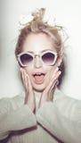 Fashion woman portrait. Sunglasses Hippi hair stock image