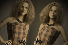 Fashion woman portrait Twins sisters Royalty Free Stock Image