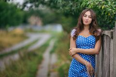 Fashion woman portrait of young pretty trendy girl posing in the stock images