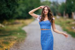 Fashion woman portrait of young pretty trendy girl in retro styl royalty free stock images