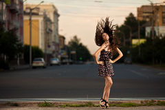 Fashion woman posing at the city Royalty Free Stock Photo