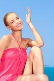 Fashion woman posing next to pool Royalty Free Stock Photos