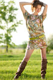 Fashion woman posing outdoor Royalty Free Stock Images