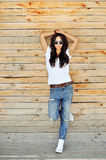 Fashion woman posing outdoor - full length portrait Royalty Free Stock Images