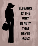 Fashion woman with quote  about elegance Stock Photo