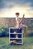 Fashion woman reading Stock Image