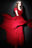 Fashion woman in red dress Stock Photography