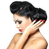 Fashion woman with red lips, nails and hairstyle Royalty Free Stock Photos