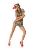 Fashion Woman In Red Plastic Sun Visor Cap Royalty Free Stock Photos