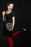 Fashion woman in red tights handbag Royalty Free Stock Image
