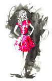 Fashion woman in red. Watercolor  illustration. Royalty Free Stock Photo